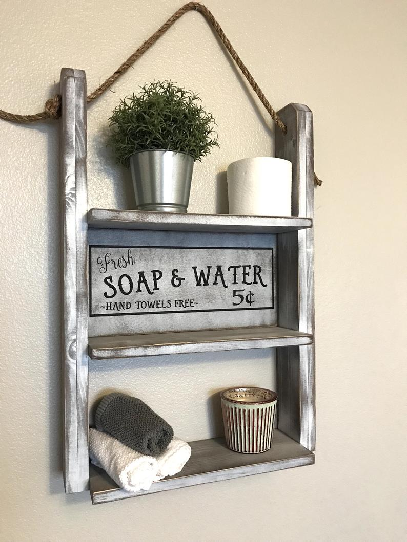 rustic wall shelf bathroom storage floating shelves etsy fgnn wood homemade for living room house shaped shelving unit kitchen carts islands utility tables glass rack garage