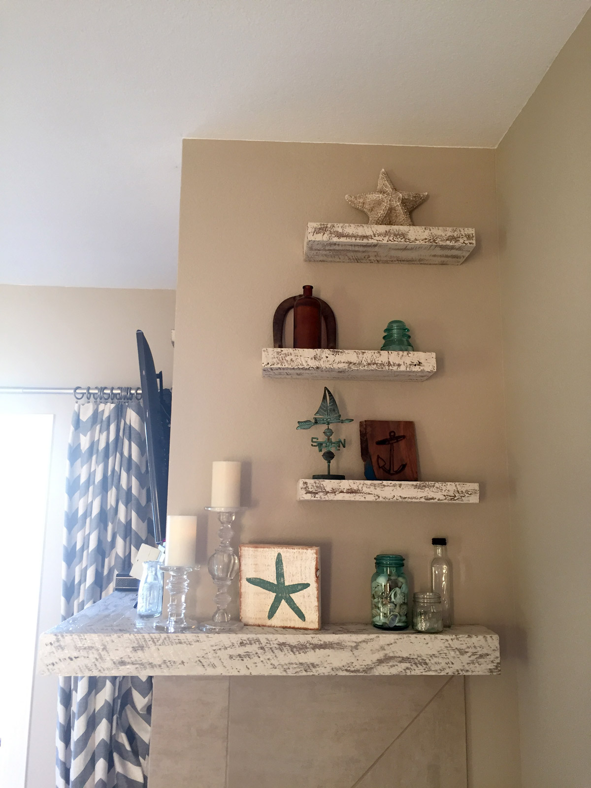 rustic white floating shelves and custom corner mantel shelf installed our etsy customer purchase desk bookshelf waterproof shower walls crown molding reception wall mount without