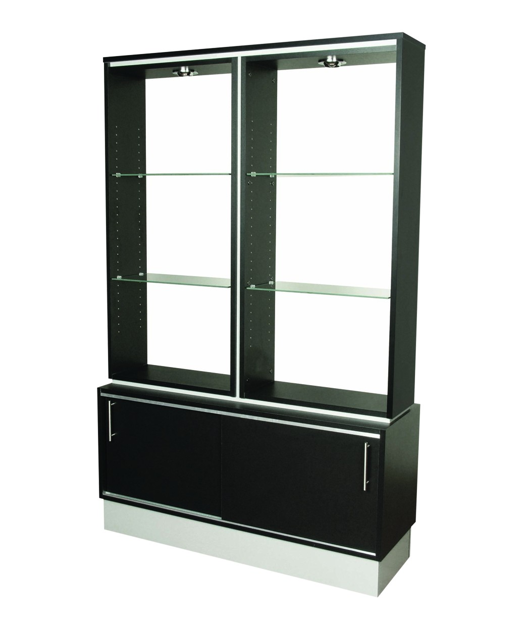 salon retail display shelves waiting room tables accessories neo black floating collins qse unit wrought iron shelf brackets oak fire mantels ikea aluminium back bar glass