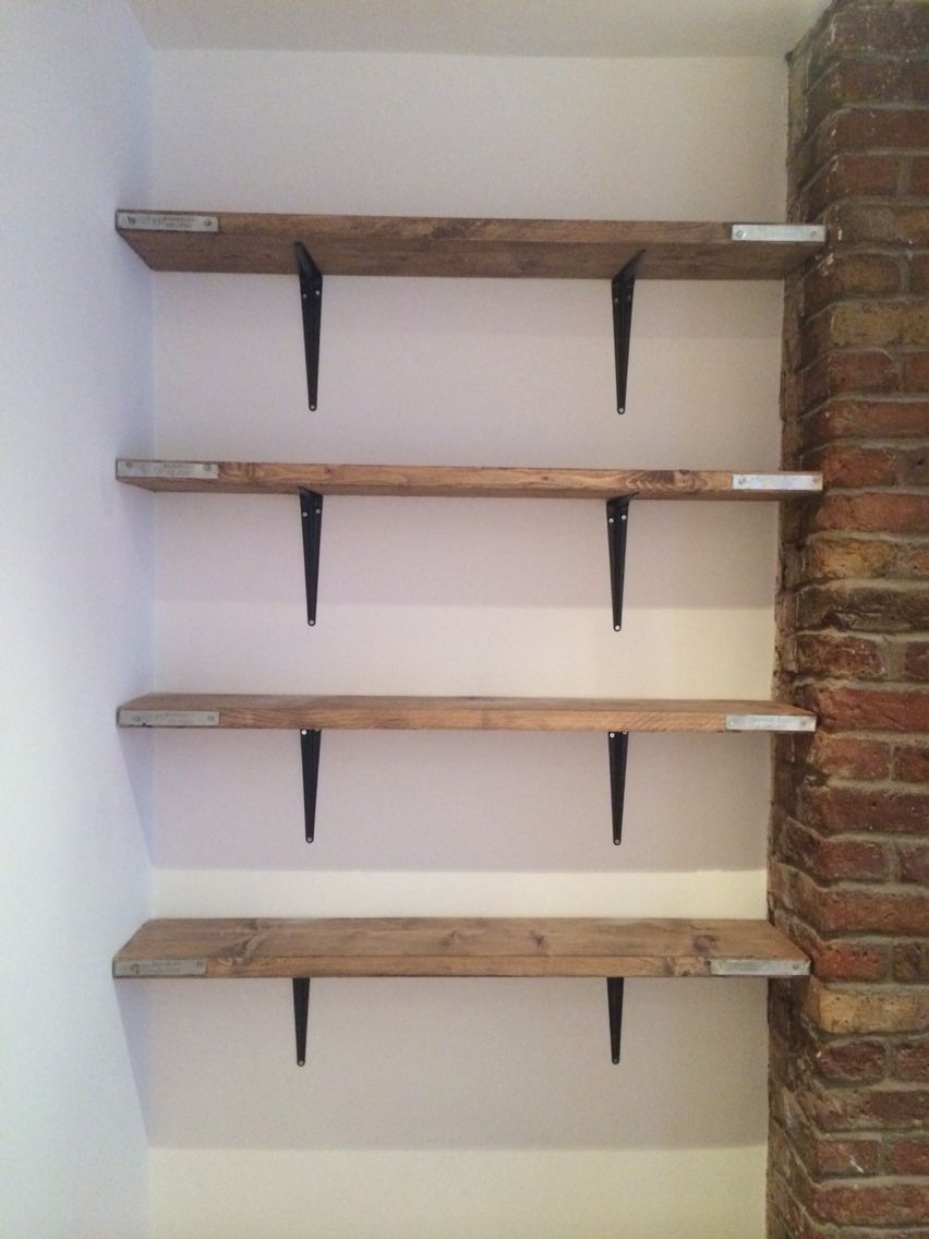 scaffold board shelving recently brought some new boards floating glass shelves from cut them done size and stained with ronseal wax very easy cool living room kids closet storage