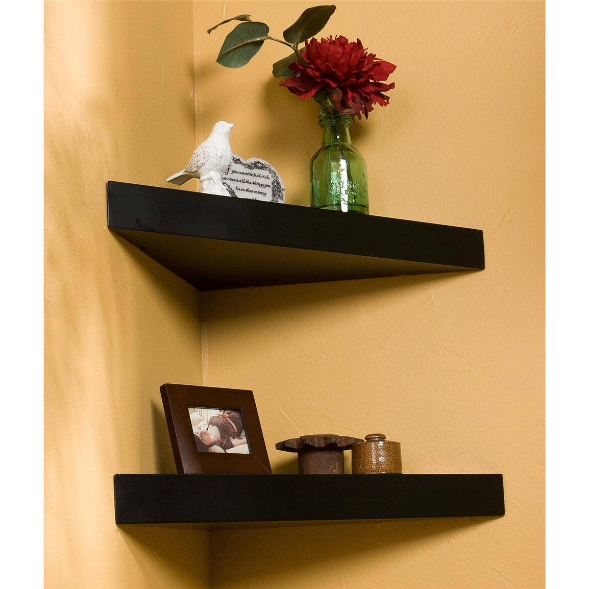 sei chicago corner floating shelf decorative black ture hanging without drilling crown molding wall glass stand for dvd player mounted unit inch book ledge holders hidden drawer