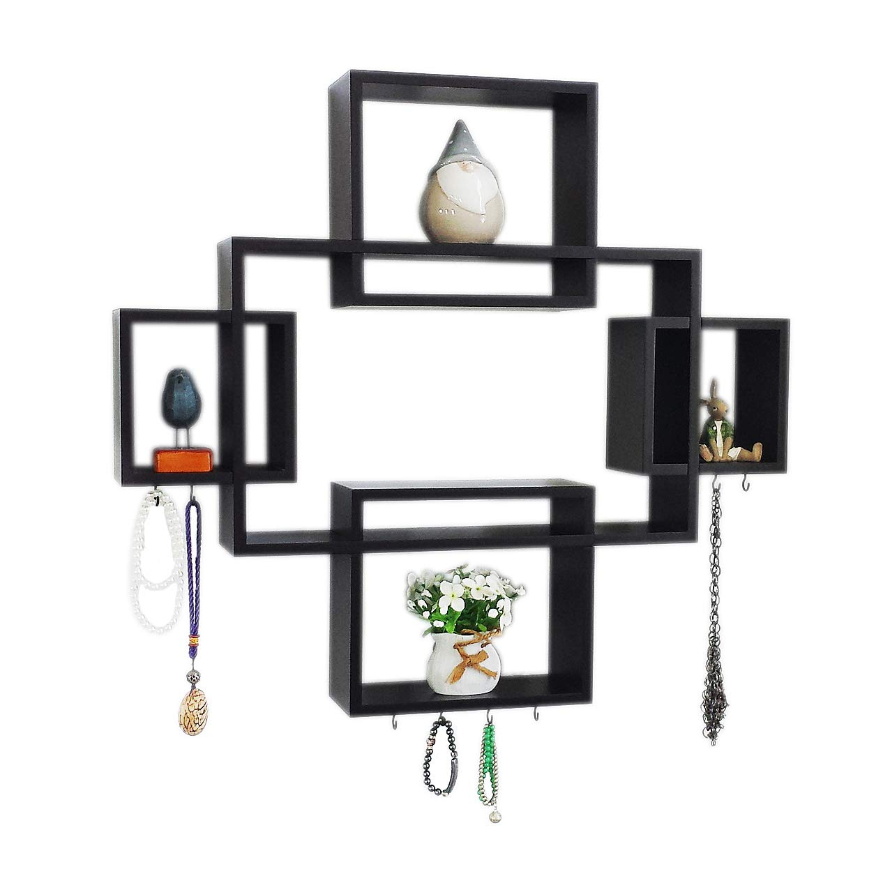 set cubes with free extra jewellery hooks rectangular floating shelf interlocking wall intersecting squares wooden mounted horizontally vertically hanging shelves desk matching
