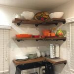 set deep industrial floating corner shelves with pipe brackets long farmhouse rustic kitchen shelf wood wall installing mantle brick fireplace simple mantel mudroom storage ideas 150x150