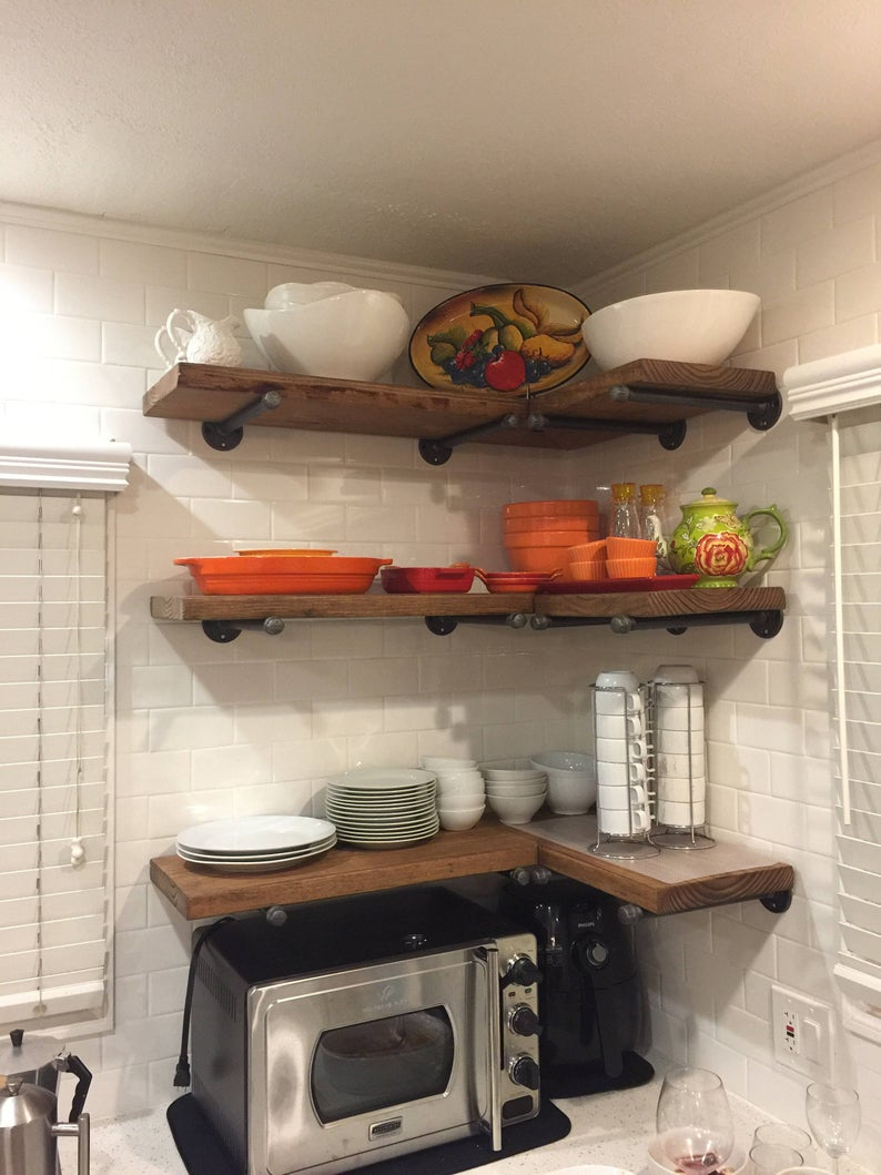 set deep industrial floating corner shelves with pipe brackets long farmhouse rustic kitchen shelf wood wall installing mantle brick fireplace simple mantel mudroom storage ideas