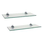 set glass floating shelves with chrome brackets danya tempered shelf small wooden cart adjustable closet shelving systems lights ikea cube organizer standard size how deep are top 150x150