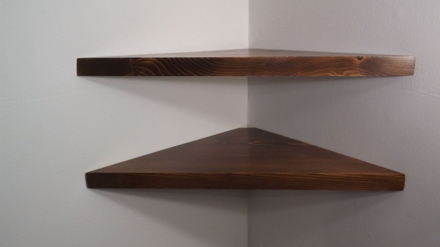 set inch floating corner shelves with dark walnut stain shelf handmade the usa bawoodworking etsy chunky bookshelf freestanding wood fireplace clear white ott bedroom cube