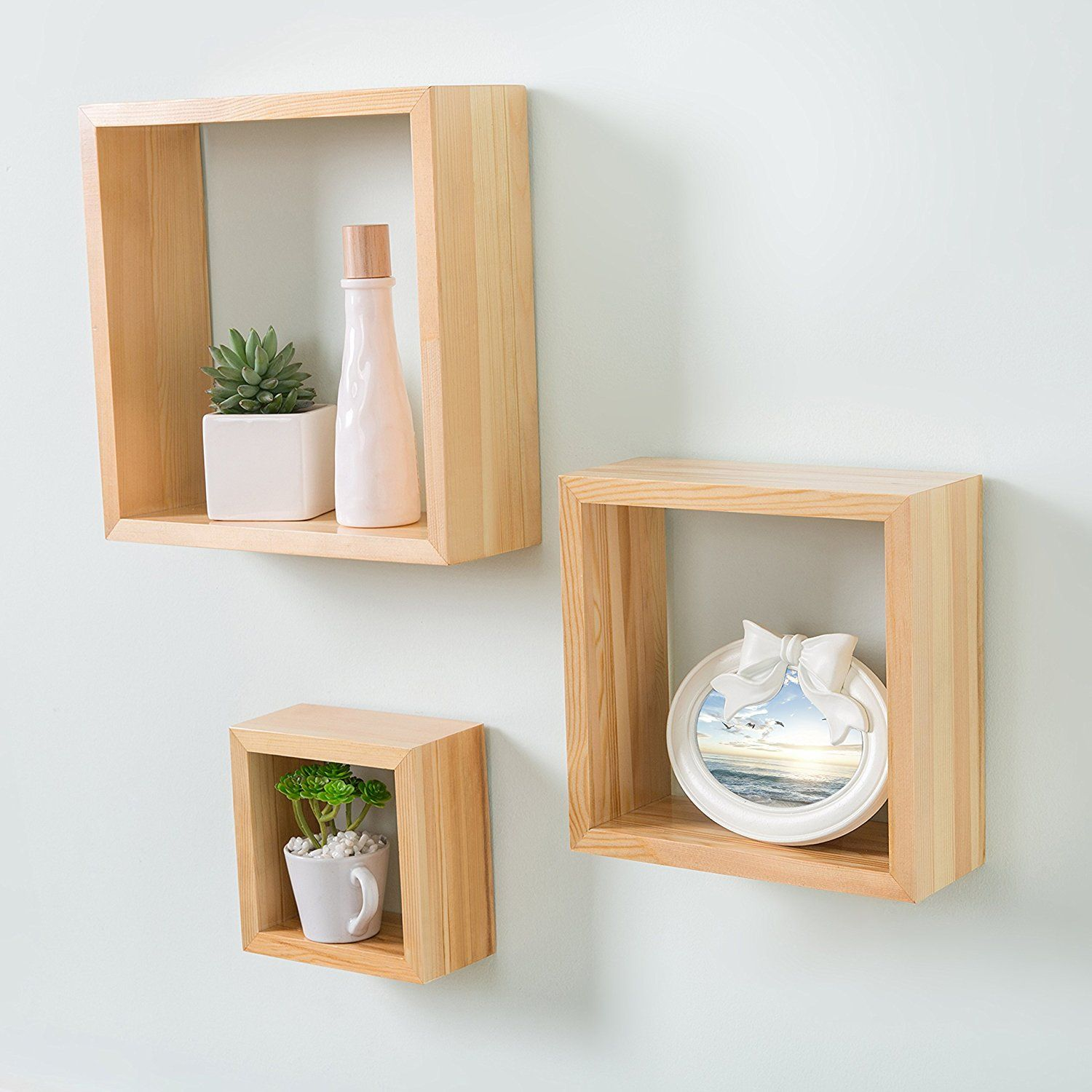 set natural blonde wood wall mounted shadow boxes floating display shelf square shelves kitchen island narrow space kmart pool noodle reclaimed pub table small computer desk ikea