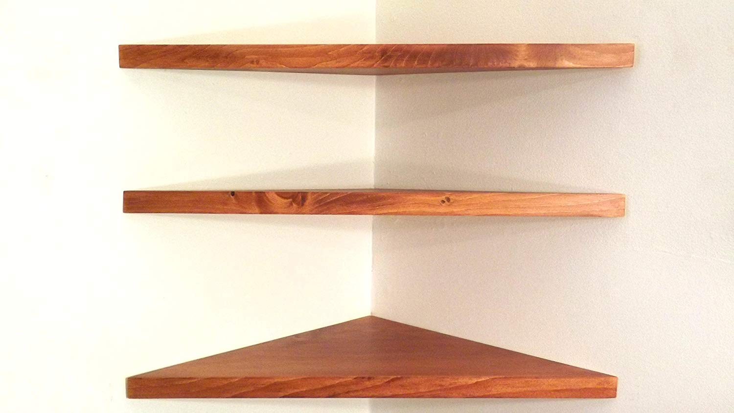 set solid wood floating corner wall shelves oak shelf with red stain choose polyurethane finish handmade usa storage bench canadian tire kitchen trolley table towel computer desk
