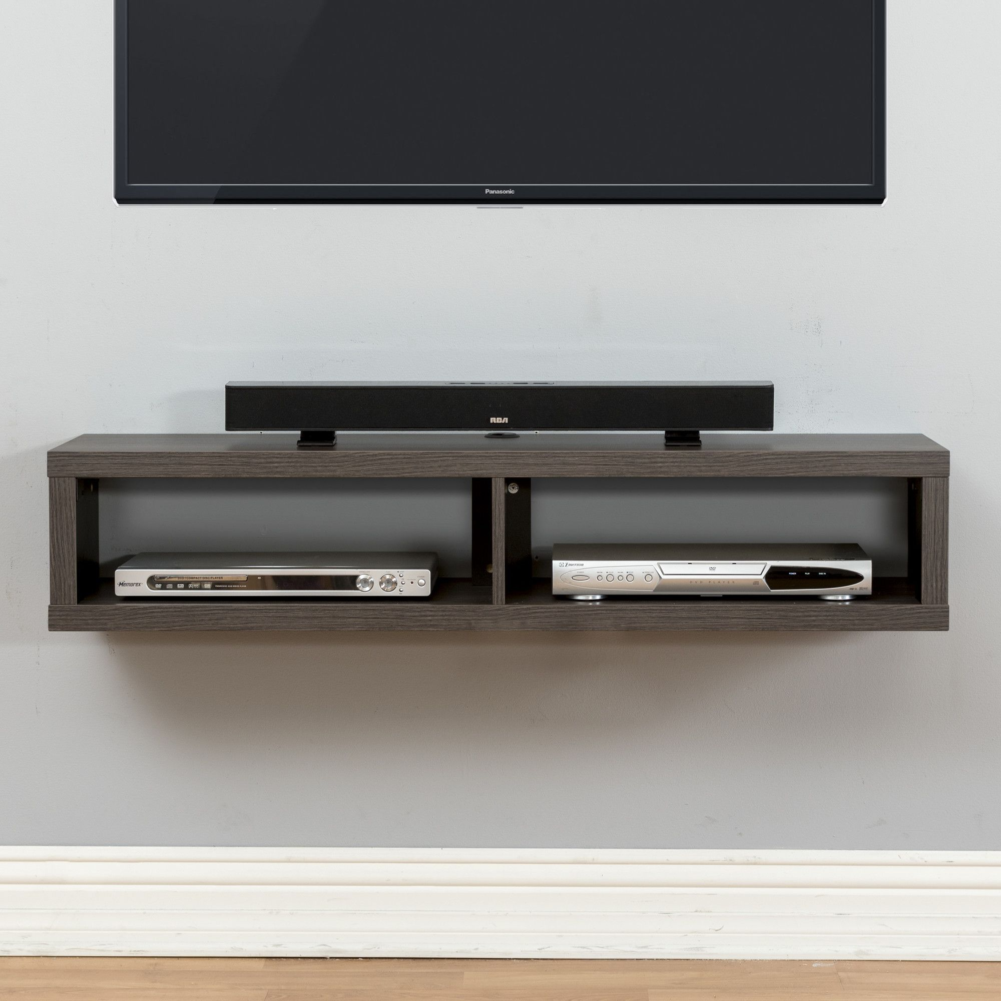 shallow wall mounted stand for tvs home decor floating wood shelves electronics holds audio video components and sound bar compliment television lbs comes with mounting hardware
