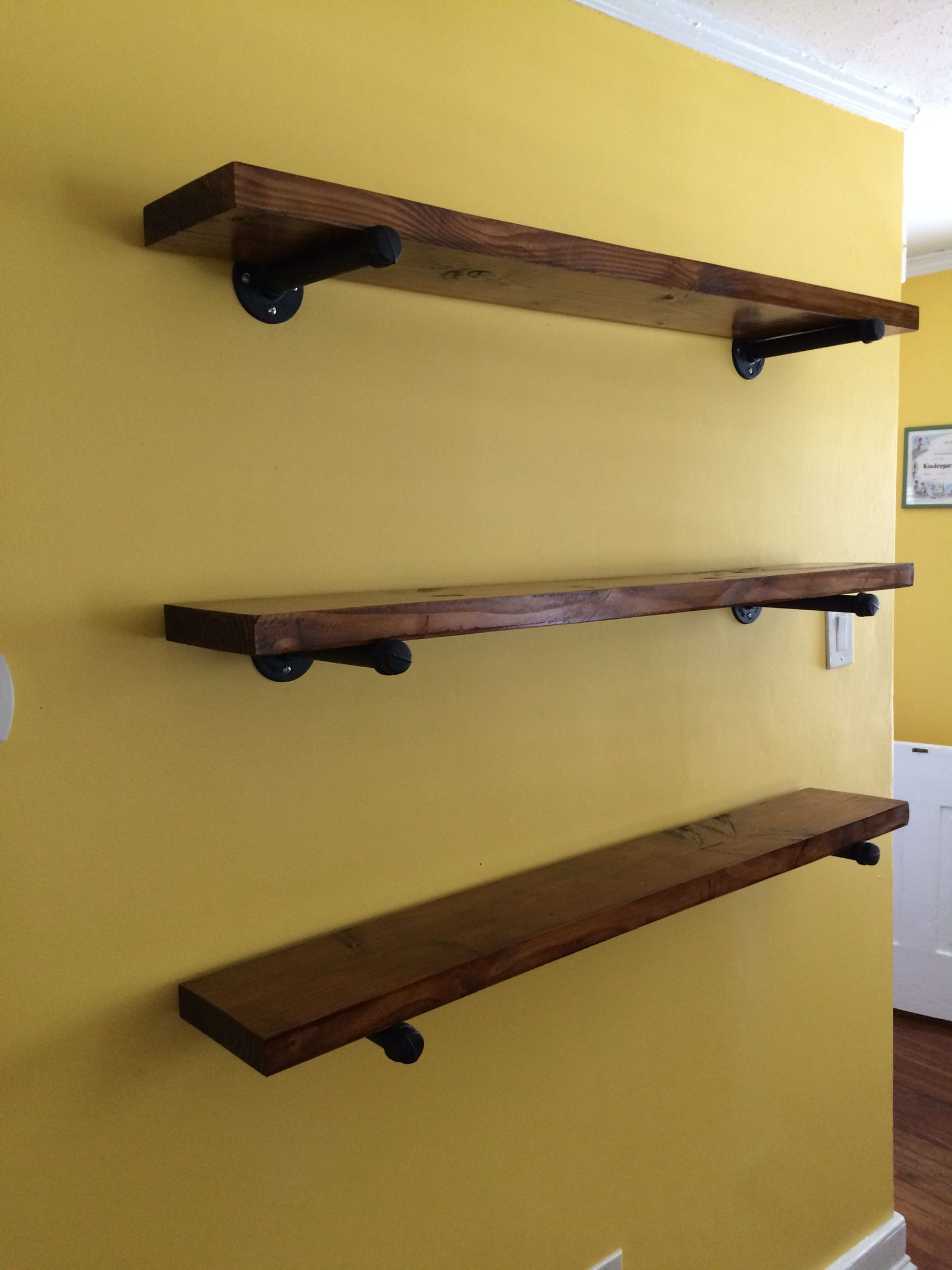 shelves made with regular old stained and sat gas pipe black floating spray painted mounted the wall custom toronto basin heavy duty mantel brackets for kitchen storage timber