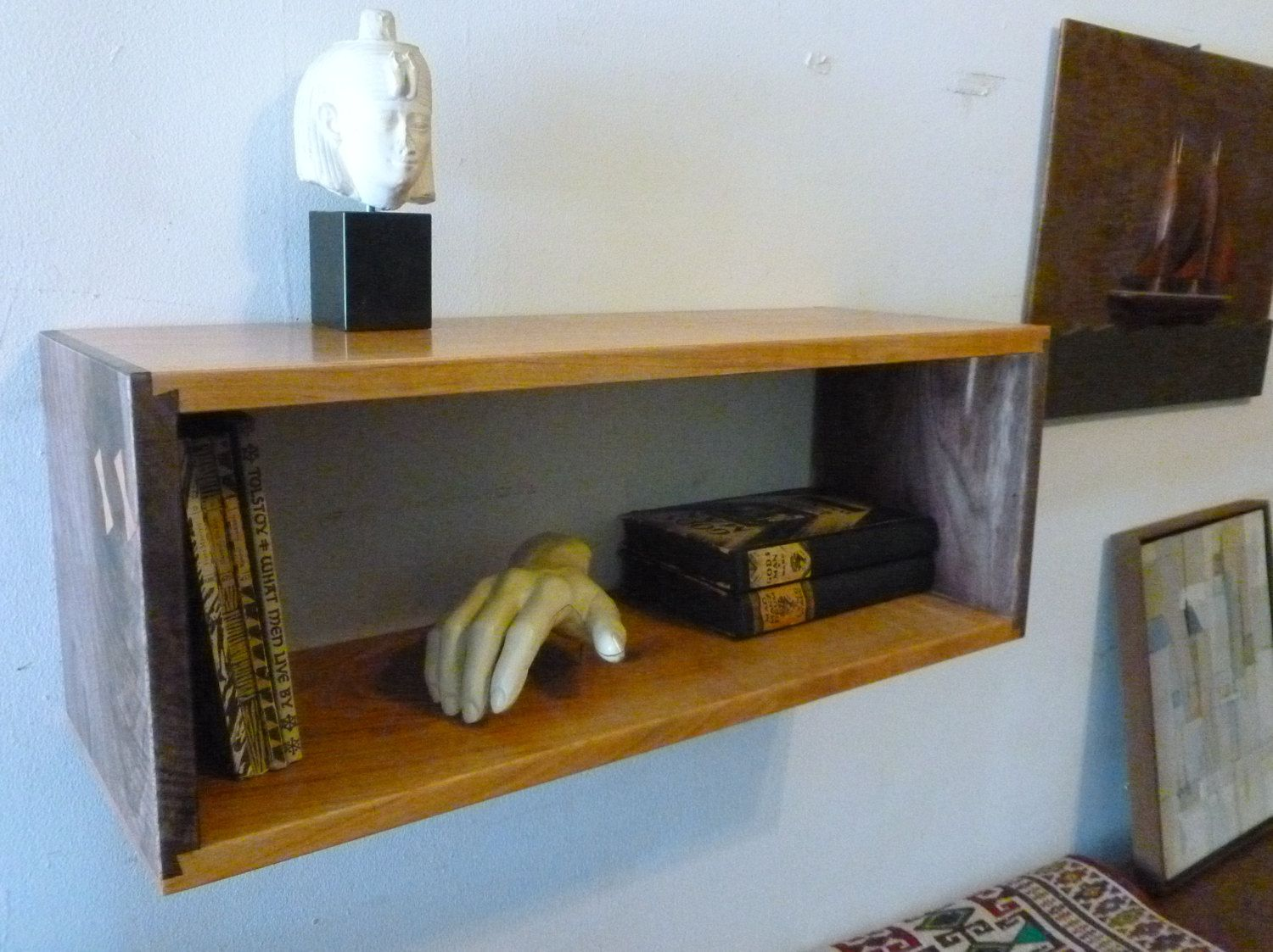 single simple elegant walnut and cherry dovetail floating wall boxes shelves finish box shelf finely finished ready hang mid century style via etsy kitchen cookbook fireplace back