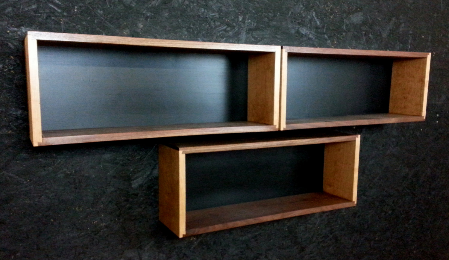 single walnut and cherry floating wall box book case shelf mid etsy fullxfull wood hooks ikea besta bookcase metal hardware white plastic corner silver shelves bedroom hanging