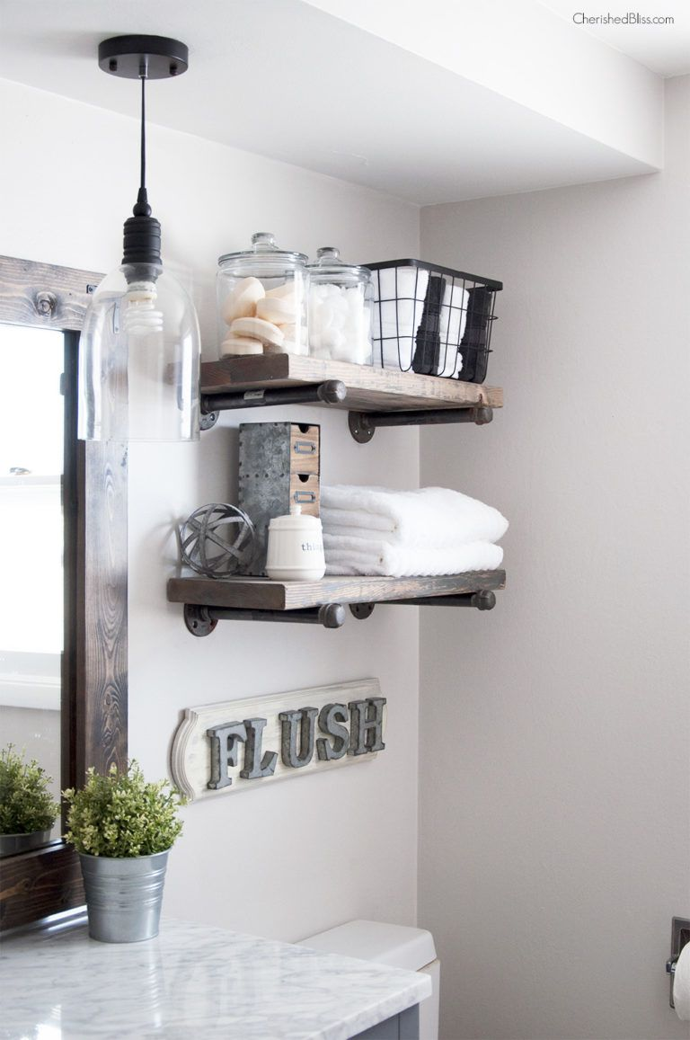 small bathroom shelf ideas industrial farmhouse shelves floating for towels with built lights fire mantle piece black garage storage boxes ikea entertainment center brackets