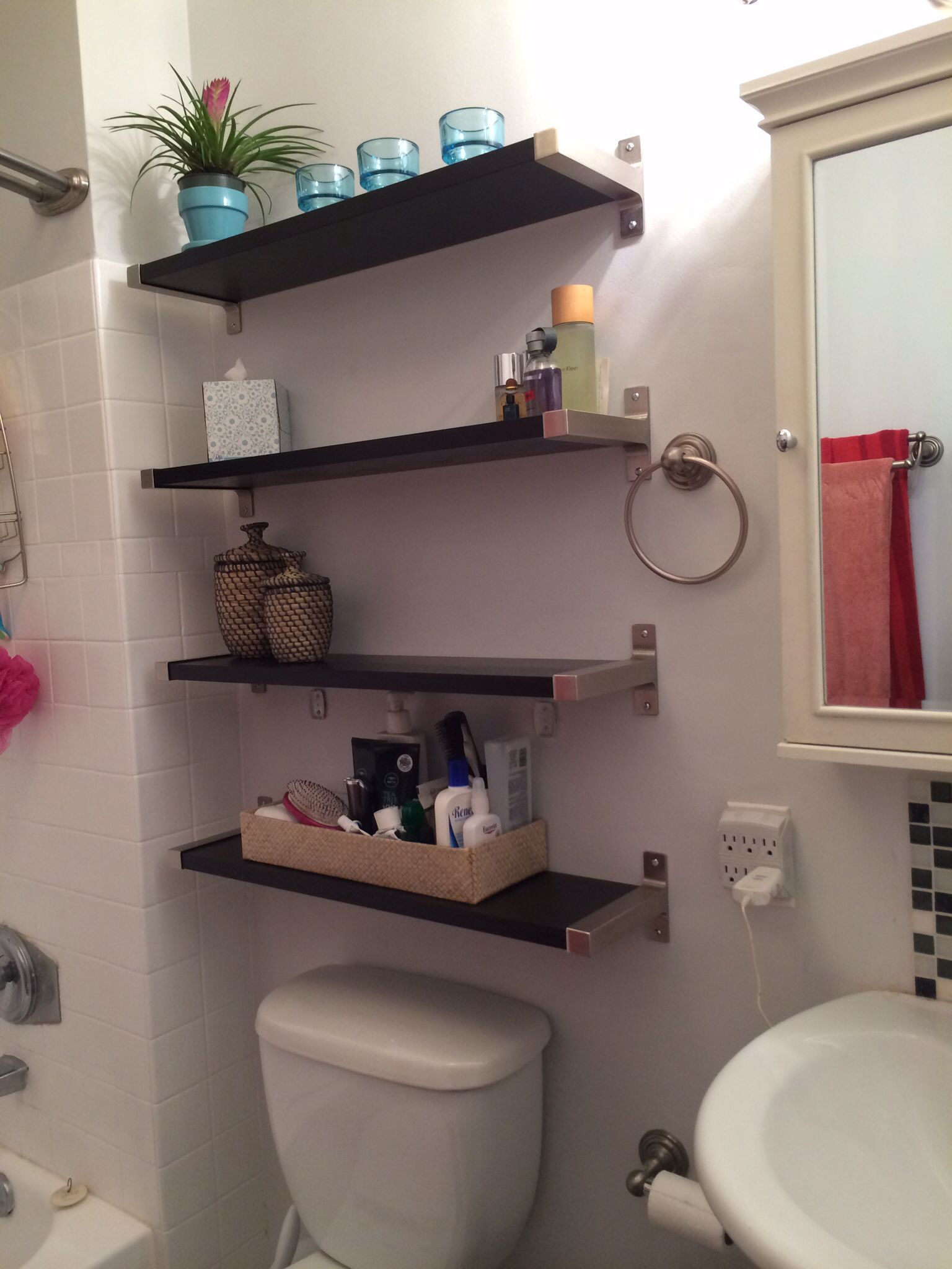 small bathroom solutions ikea shelves floating media fireplace mantel wood slab kallax hack black wall hanging radiator shelf target corner plain white ceramic mugs custom mantle