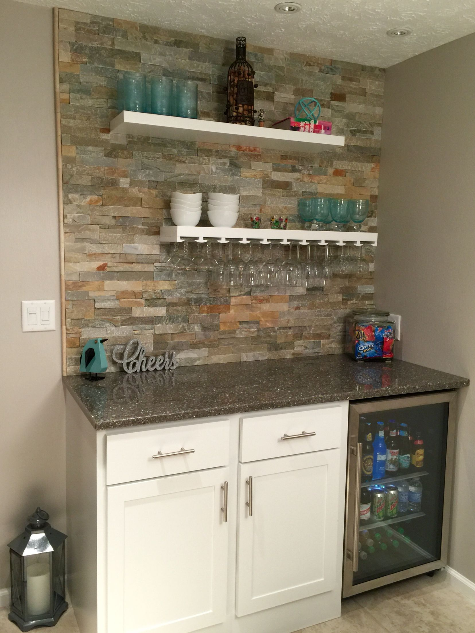 small dry bar with desert quartz ledge stone floating shelves wet hanging glasses rack refrigerator awesome fold out shoe storage modern kitchen shelf design shallow brackets inch