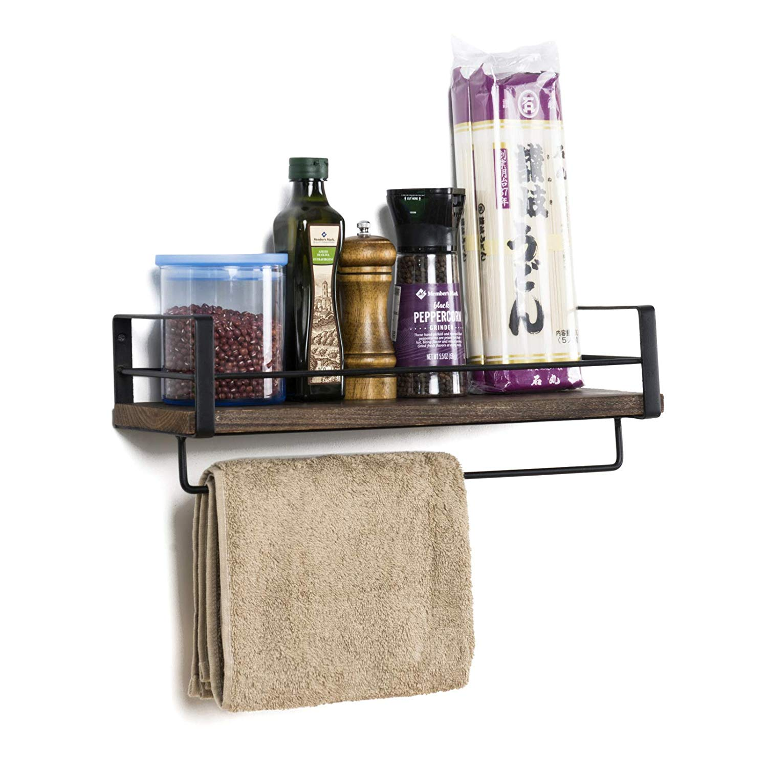 soduku rustic kitchen wood wall shelf rack with towel bar and metal floating shelves mounted toilet storage for command strip hooks bathroom floor underlayment vinyl curtain
