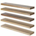 solid oak floating shelf custom made measure customise length depth thickness corner stainless steel ledge shelves storage bench canadian tire bracket installation blue and white 150x150