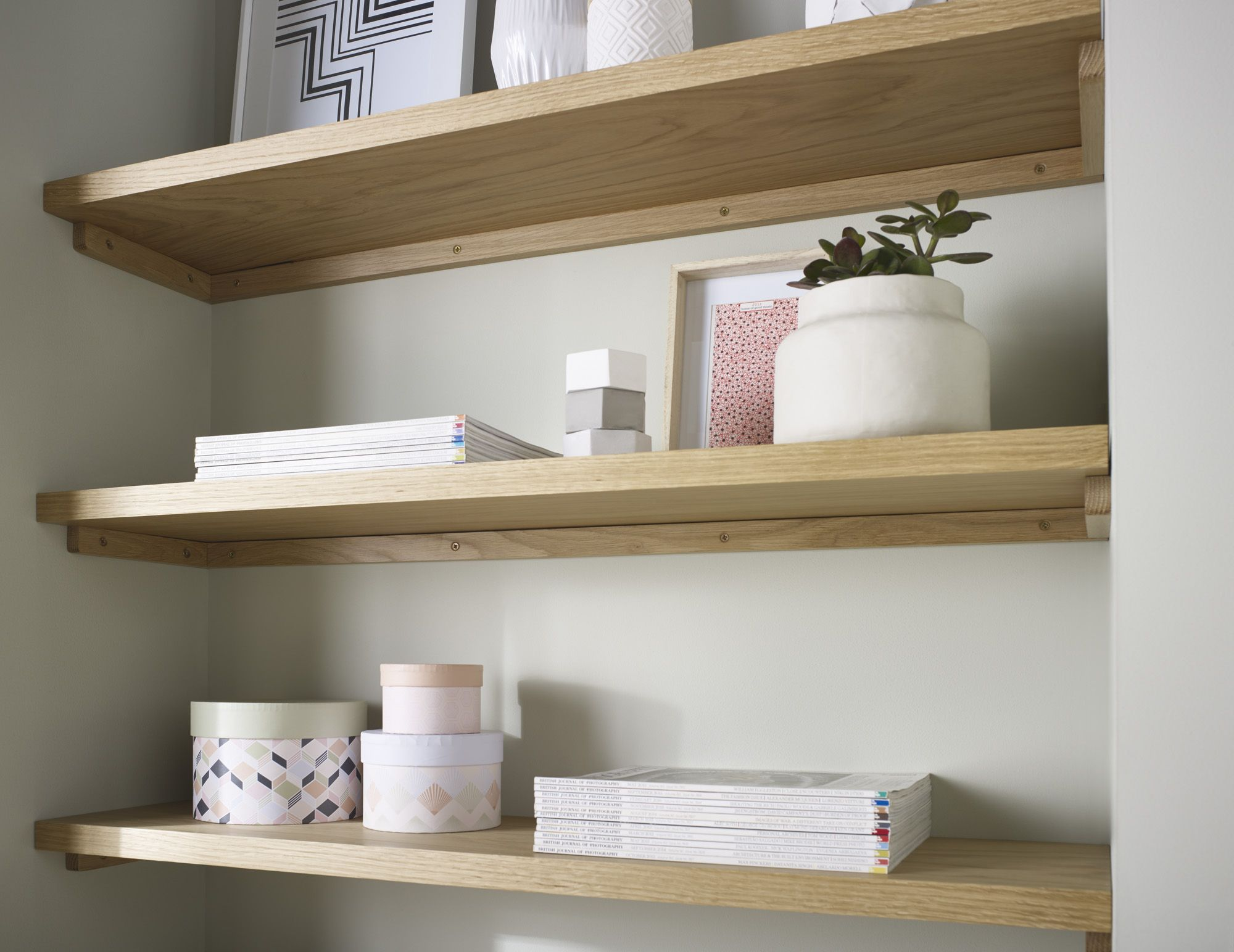 solid oak floating shelf custom made measure customise length depth thickness thick white shelves heavy duty iron brackets pine homebase cherry ledge kitchen rail storage shower