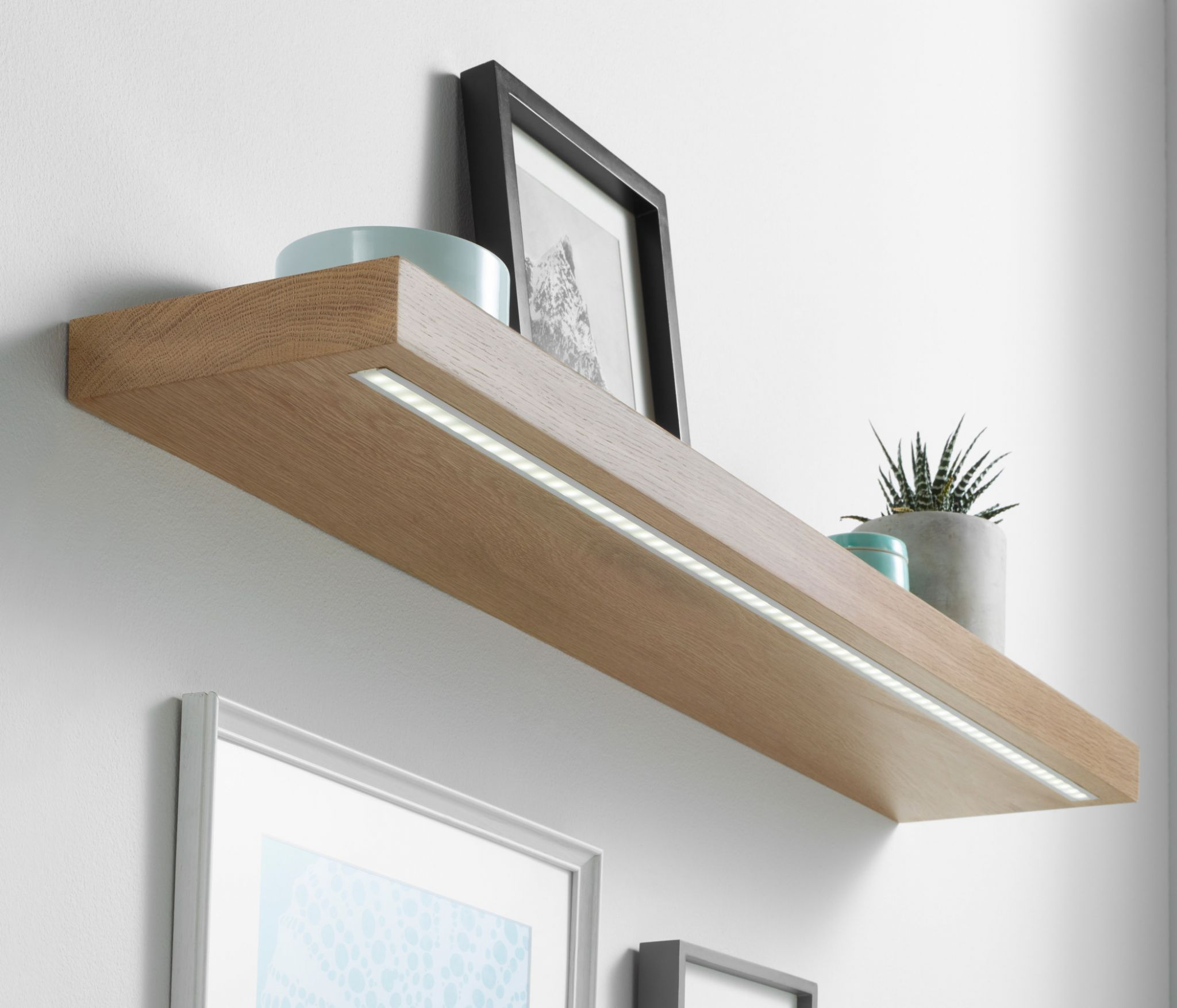 solid oak led light shelf custom made measure customise length apx corner floating with office cabinets float coat decorative brackets plate molding premade shelves best closet