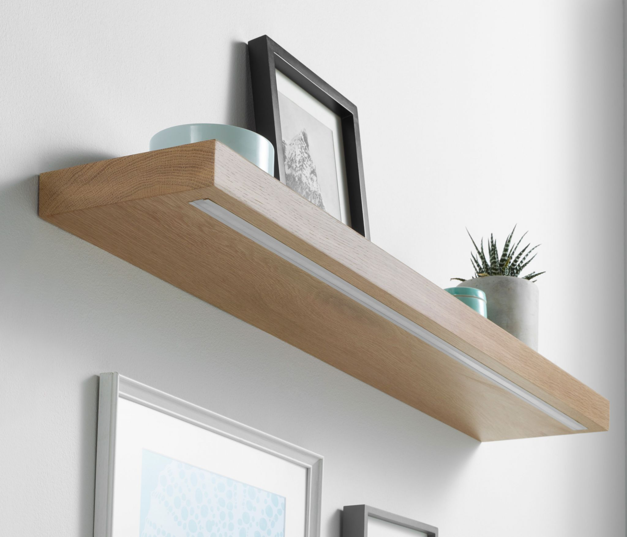 solid oak led light shelf custom made measure customise length apx longest floating open bottom cabinets bedroom corner shelves marble brackets self stick vinyl tile bathroom