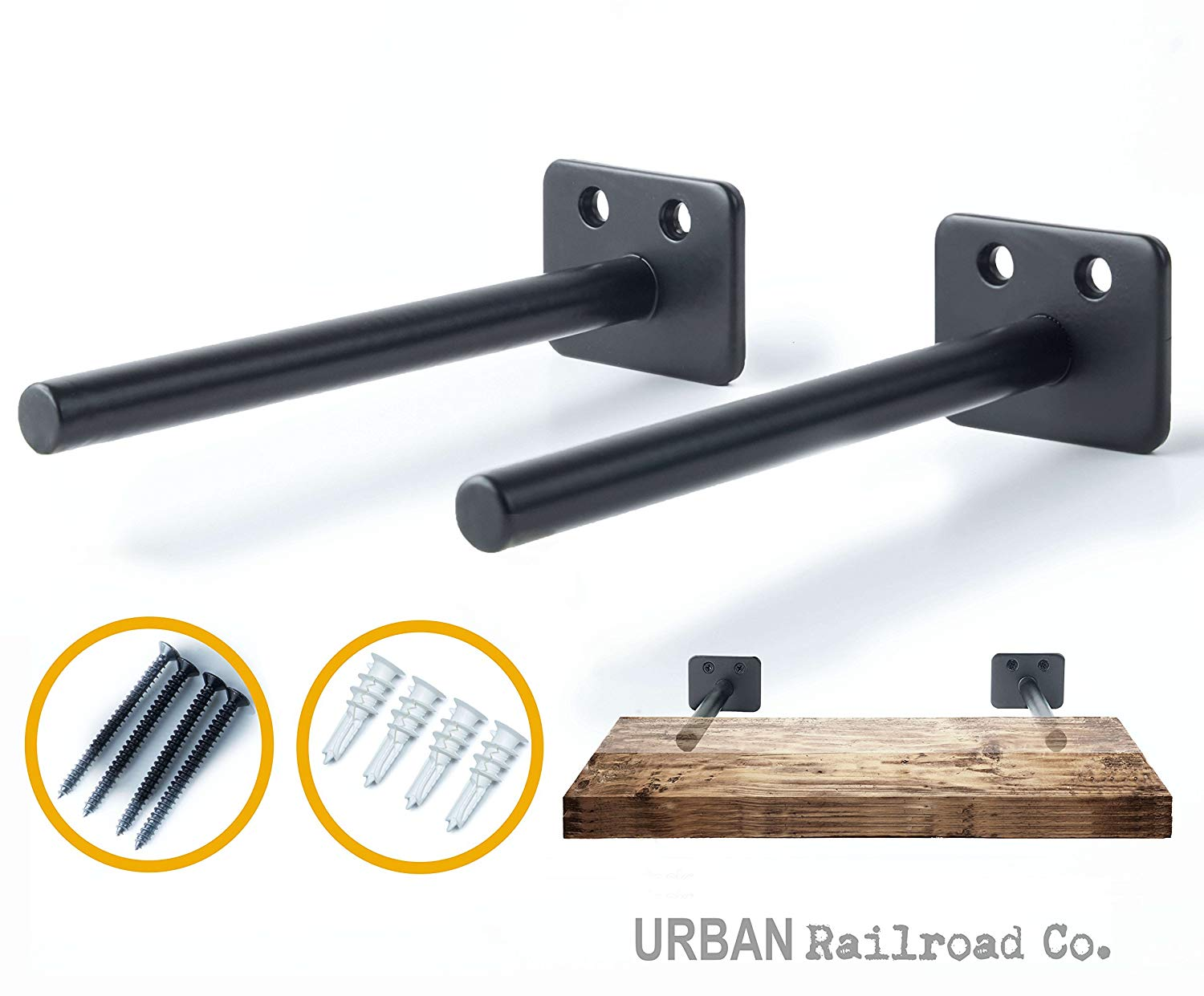 solid steel floating shelf brackets rod with bookshelf diameter powder coated finish rustproof blind supports flush fit hardware only kmart industrial wall piece wood for ikea