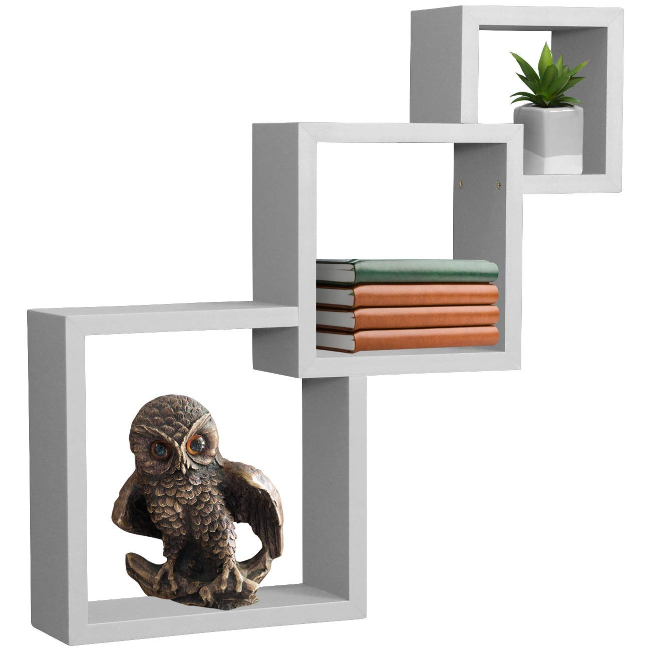 sorbus floating shelf square interlocking cubes with white openings decorative wall shelves hanging display for frames collectibles and home decor ikea expedit cliffhanger bracket