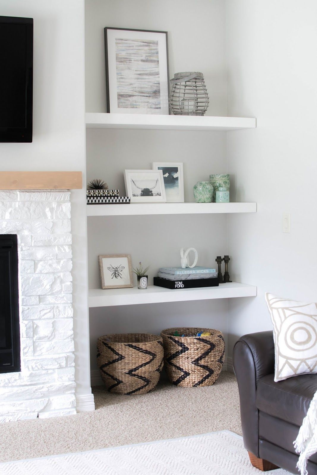 styling our new floating shelves gorgeous fireplace and built shelf leaning forward makeover mandy such brown faux leather rustic corner unit closet between studs brackets office