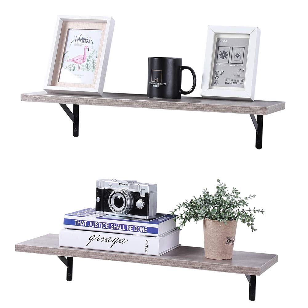 superjare wall mounted floating shelves set cream display ledge storage rack for room kitchen office gray home can you put vinyl flooring over grey shelf board white high gloss