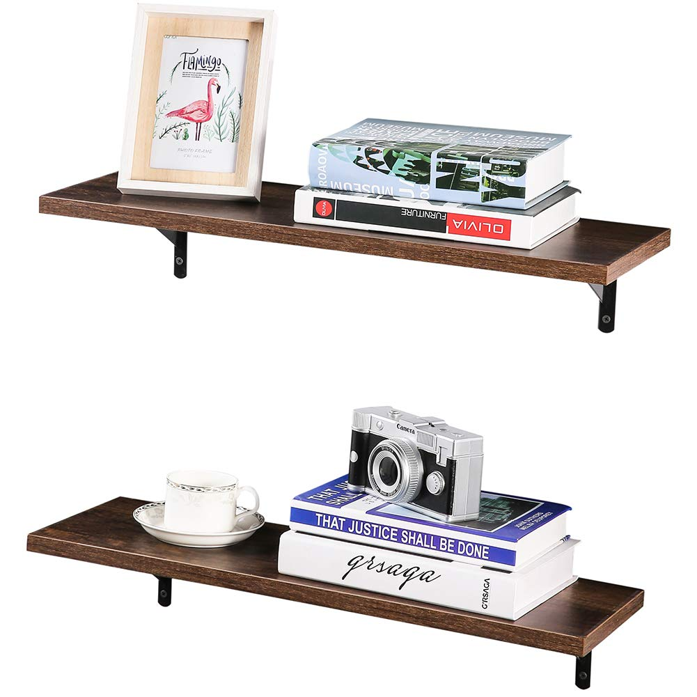 superjare wall mounted floating shelves set ptpeyjjl for electronics display ledge storage rack room kitchen office dark brown home corner shelf unit real timber laminate shelving
