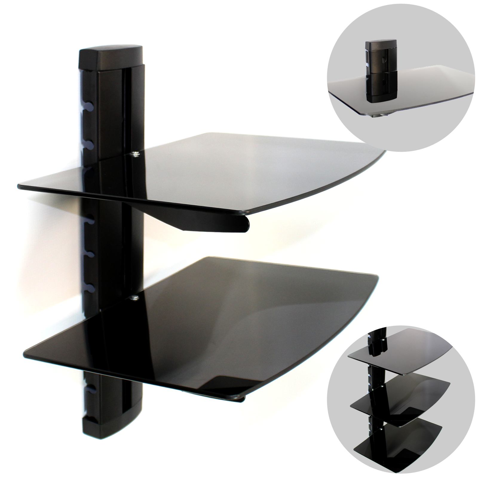 tempered black glass floating shelf wall mount consoles dvd players dry food storage cabinets that goes over toilet kitchen countertops for player shower plug the cabinet secret