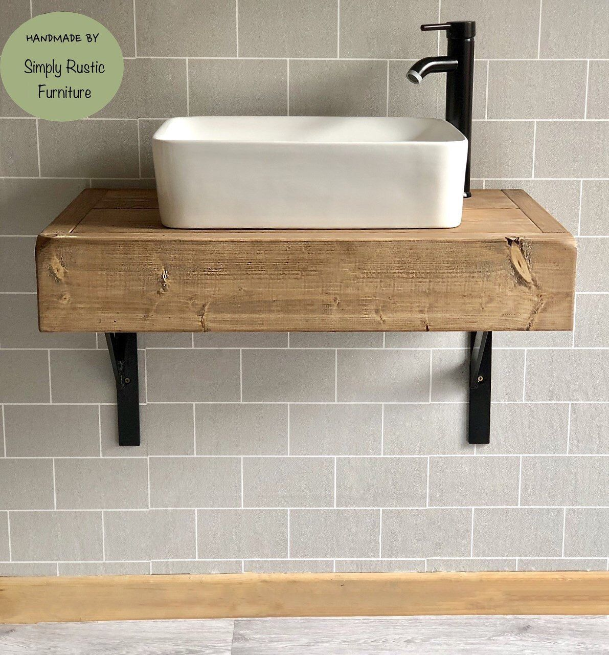the floating beam shelf wash stand hand crafted rustic bathroom basin cream painted off white vanity unit with oak top sink tap dresser wooden floor underlay wall mounted acrylic