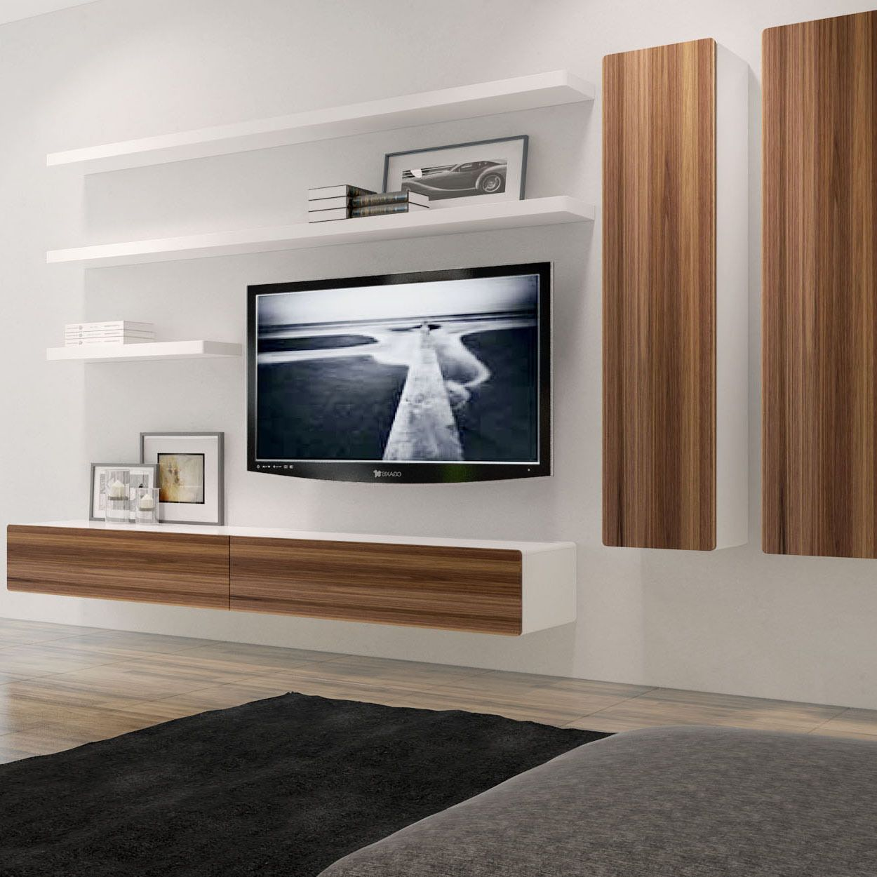 this charming floating composition which combines the brando shelf entertainment unit wall cabinets and shelves ultimate storage black metal brackets drinks cabinet set under