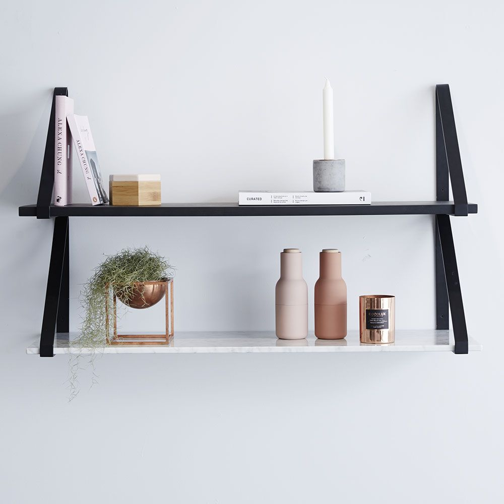 this modern designer floating shelf comes with white italian carrara marble and black steel metal brackets the perfect wall shelving storage system for any kmart website kitchen