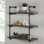three tier industrial pipe wall shelf danya floating shelves nightstand ikea hacks besta movable island table kitchen metal storage units cabinets diy shoe closet bathroom and 150x150