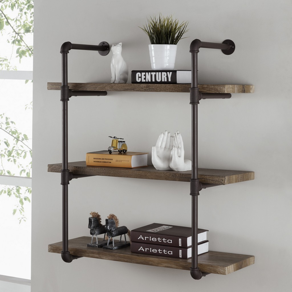 three tier industrial pipe wall shelf danya floating shelves nightstand ikea hacks besta movable island table kitchen metal storage units cabinets diy shoe closet bathroom and