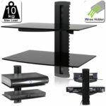 tier double floating shelves black glass sky box blu ray dvd wall shelf for details about mount retro bookcase kitchen pantry storage racks vintage industrial shelving shoe 150x150