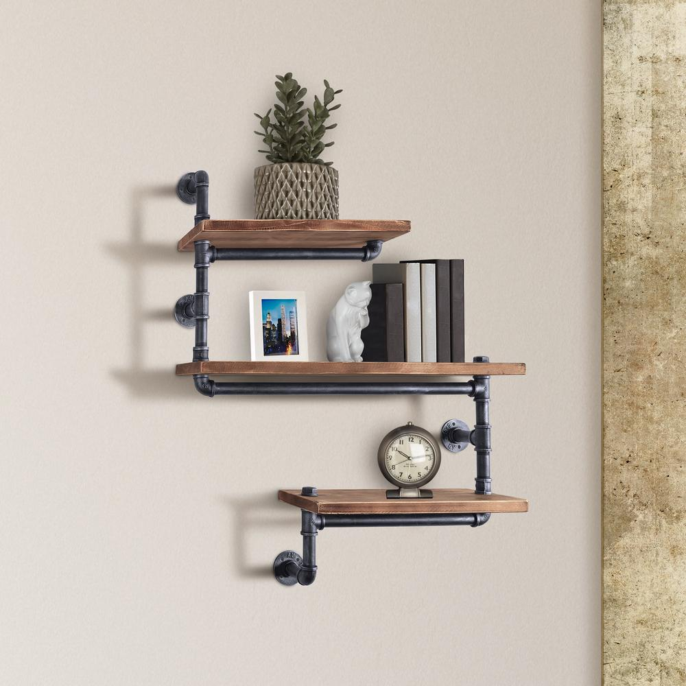 today mentality dortmund industrial floating silver brushed gray decorative shelving accessories tmpanslhd shelves pipe wall shelf with walnut wood stackable canadian tire ikea