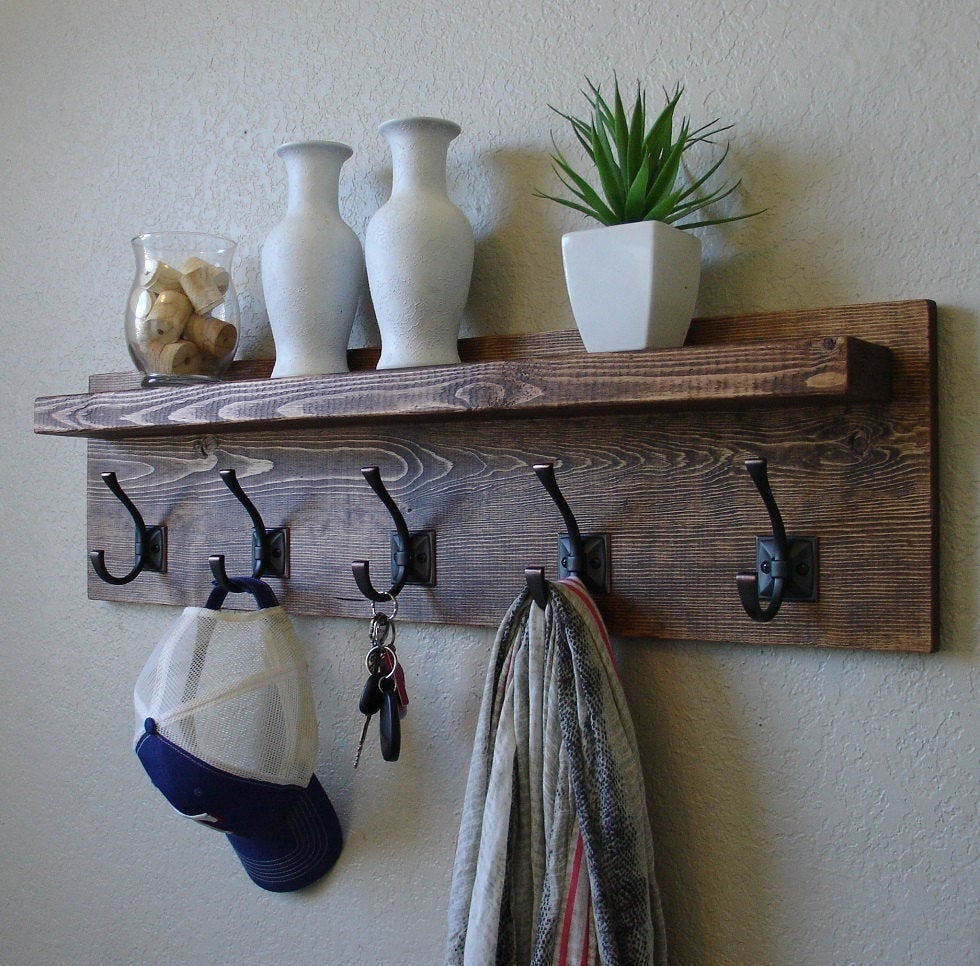 townsend coat rack with floating shelf etsy fullxfull barnwood bar kitchen wall stand corner bookshelf ikea tall island table distressed wood shelves sink cabinet depth desk