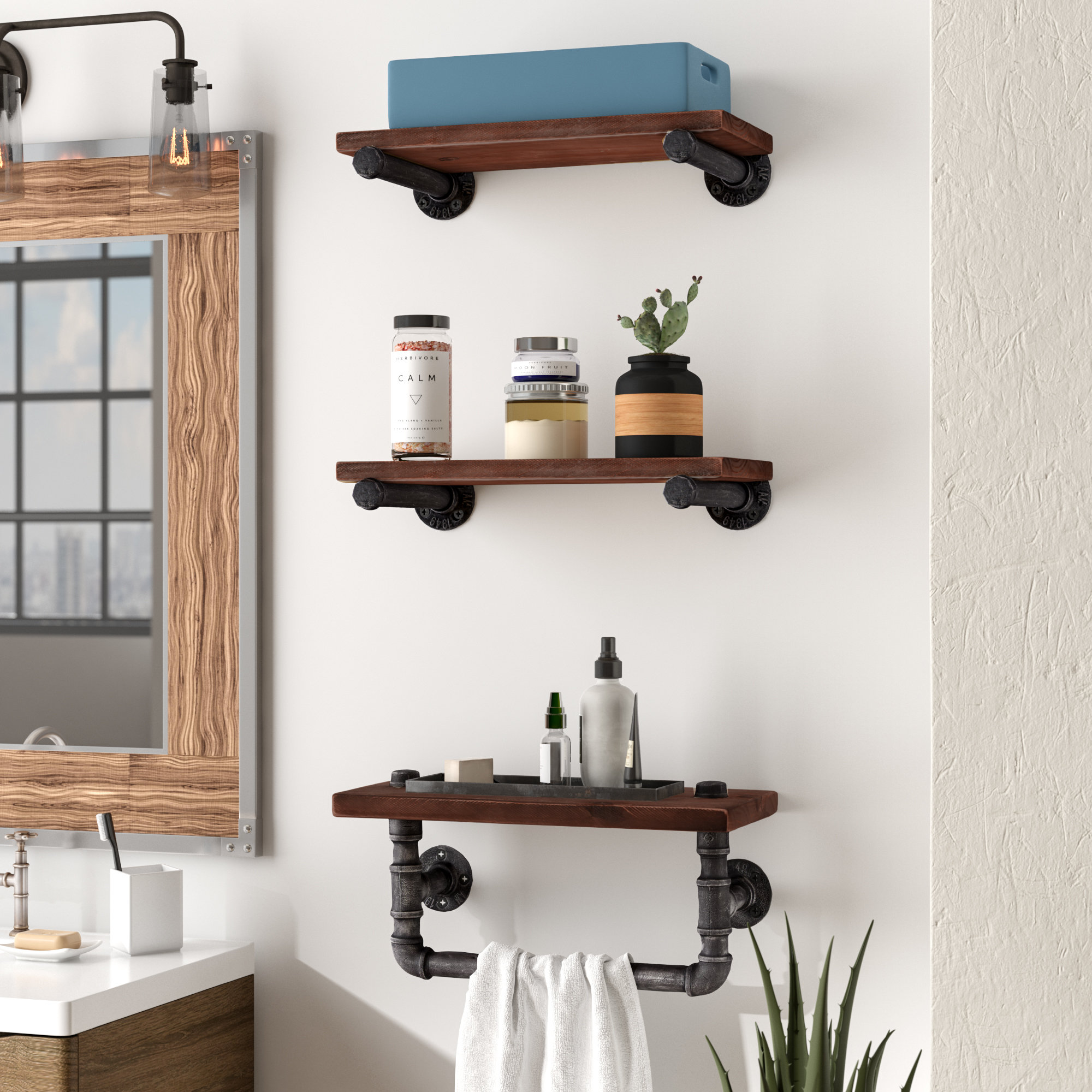 trent austin design industrial walnut wood floating piece wall shelf shelves masters set reviews kitchen wire quarter round corner oak unit tree stand coat rack closet brackets