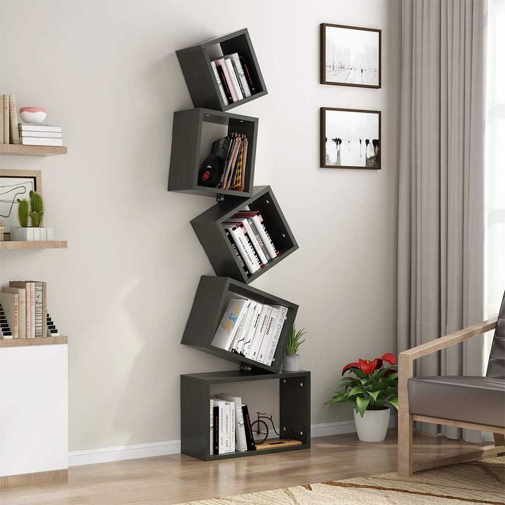tribesigns shelf bookshelf modern bookcase wall mount floating shelves cube book rack storage organizer for books home decor black metal and wood coat ikea table top steel angle