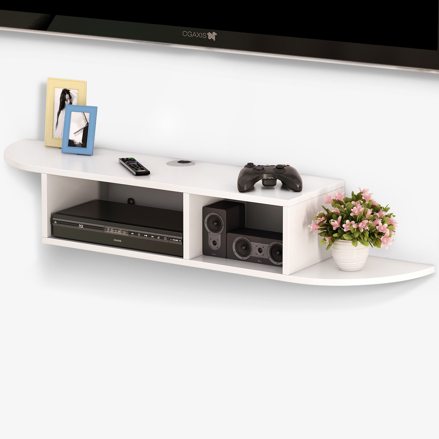 tribesigns tier modern wall mount floating shelf shelves for game consoles console inch cable boxes routers remotes dvd players white closet solutions building secret compartments