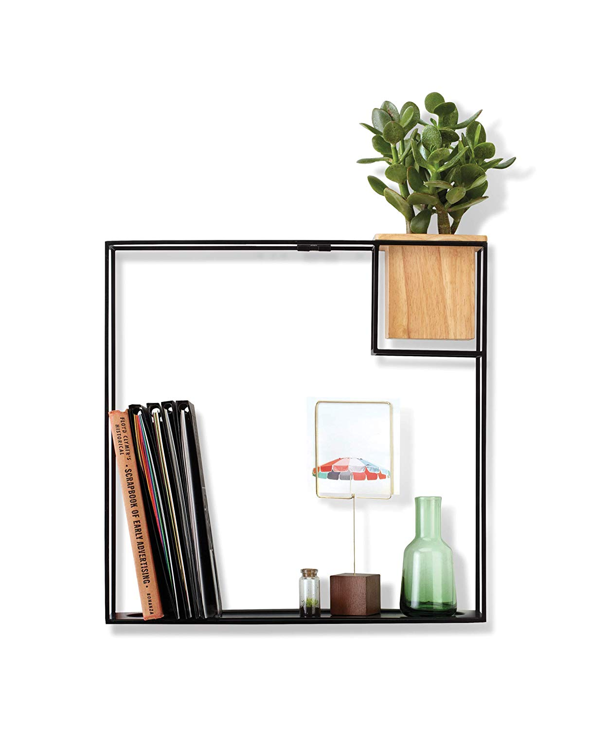 umbra cubist floating shelf with built succulent large black shelves planter modern wall decor and geometric display for books candles mementos small kitchen storage round pantry