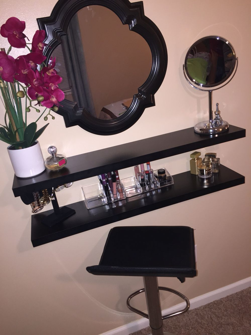 very own diy vanity made using floating shelves dressing shelf table bathroom storage cabinets canadian tire wall with drawer mounted breakfast bar adjustable wood shelving