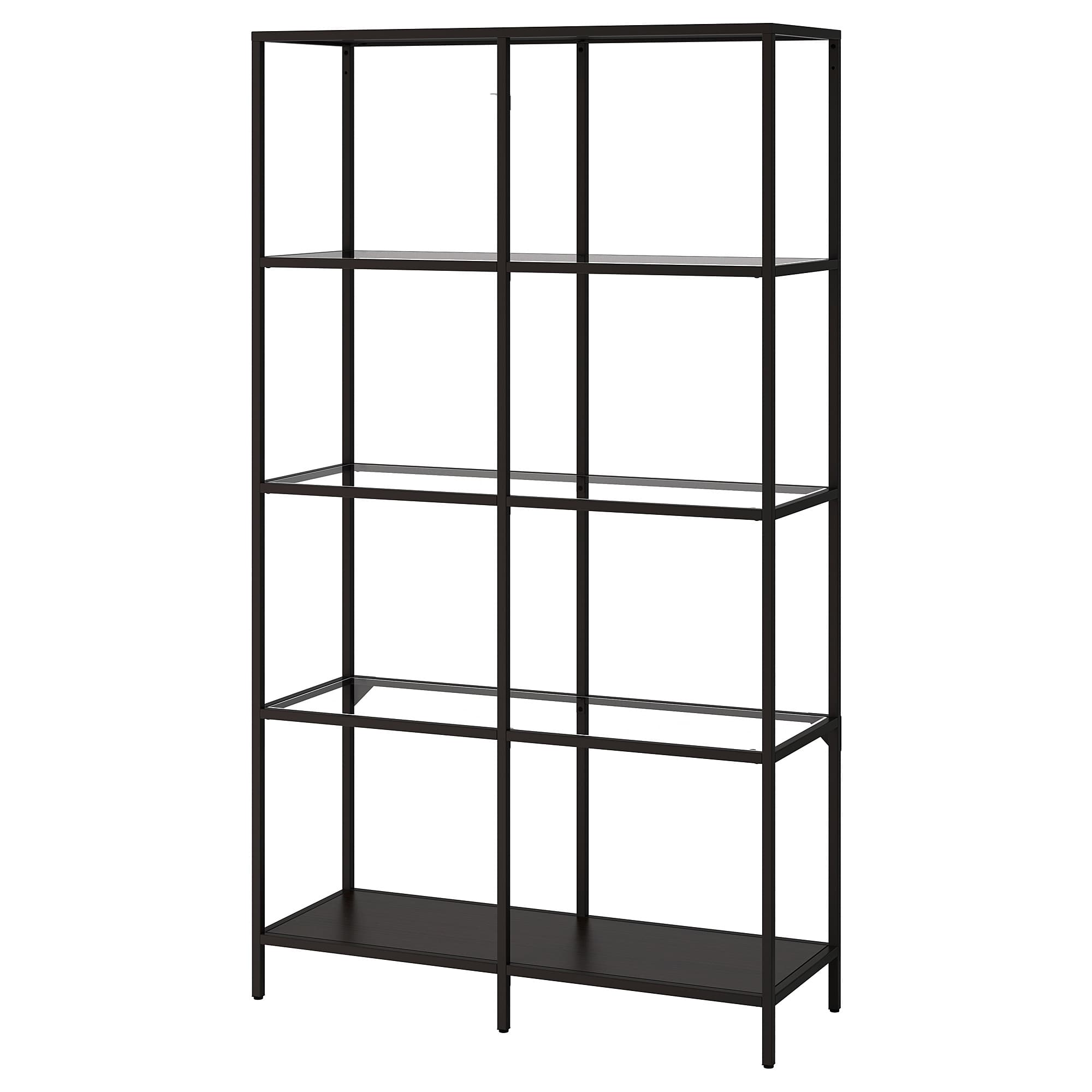 vittsjo shelf unit black brown glass ikea floating shelves family member triangle support shoe wall storage solutions mounted with hooks corner units living room display rack