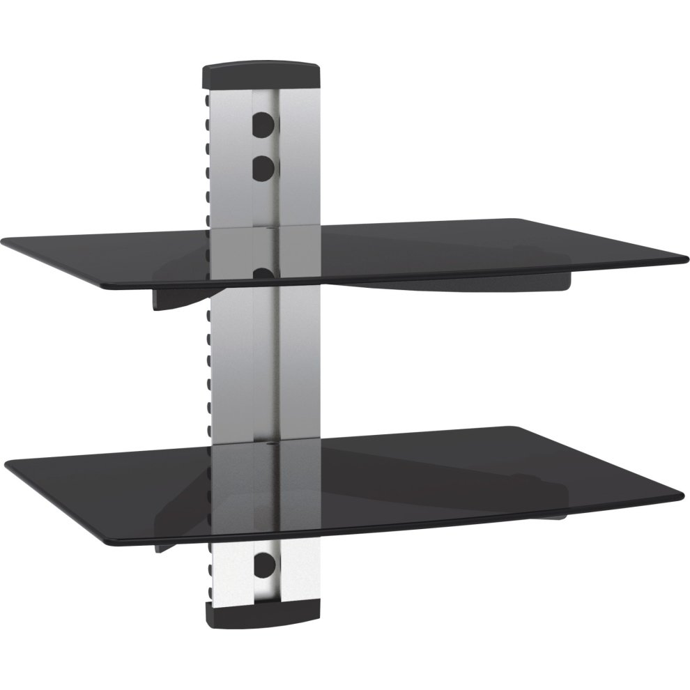 vonhaus tier floating shelves flat silver wall mount bracket with strengthened tempered black glass for dvd player sky virgin box games shelf garage storage drawer units antique