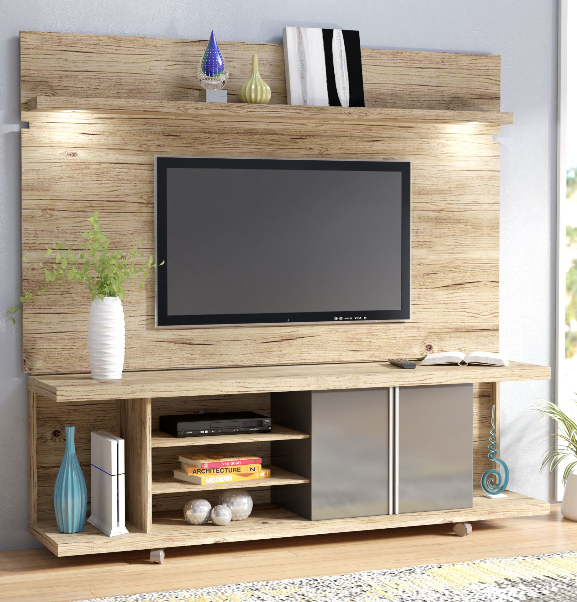 wade logan lucca entertainment center for tvs floating shelves system bathroom countertop basin hafele brackets shoe storage and organization rack kit laying sticky back floor