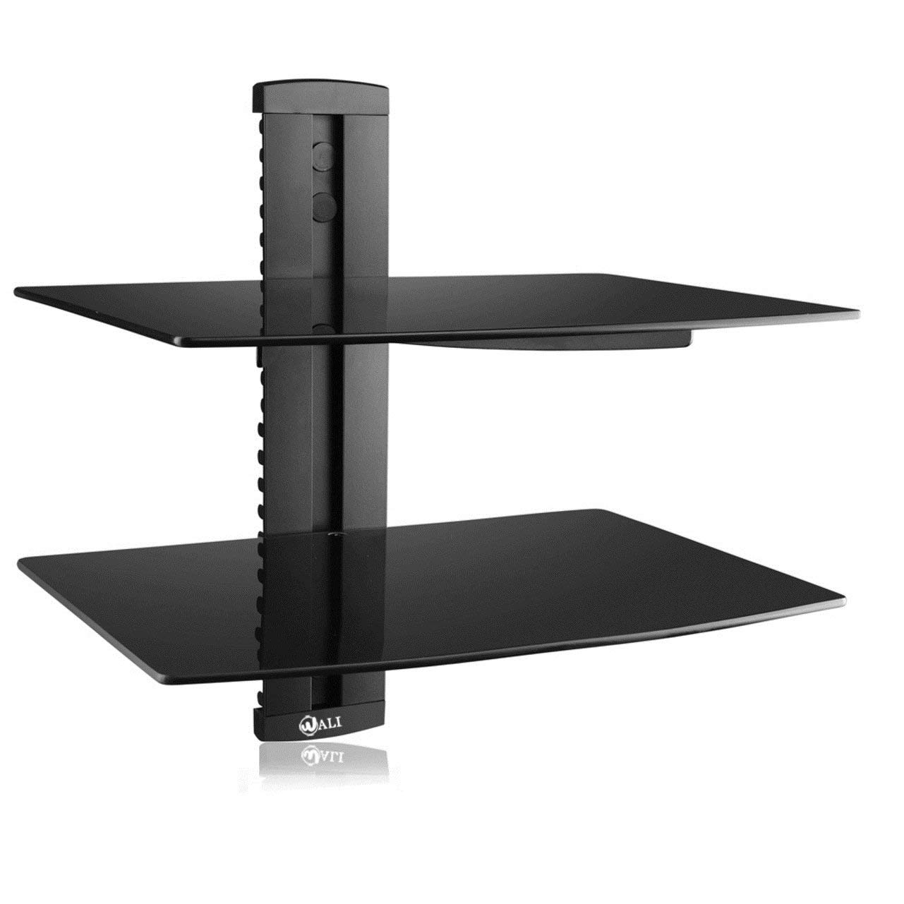 wali floating strengthened tempered glass for dvd shelf with players cable boxes games consoles accessories black home kitchen modern open shelving ideas person computer desk