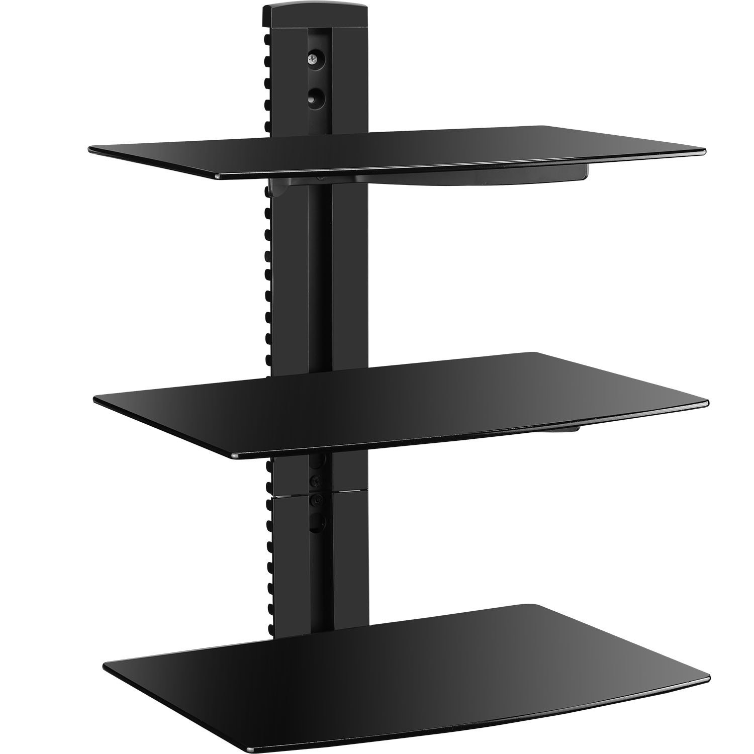 wali floating wall mounted shelf with strengthened tempered glass glasses for dvd players cable boxes games consoles accessories shelves black diy over the toilet storage