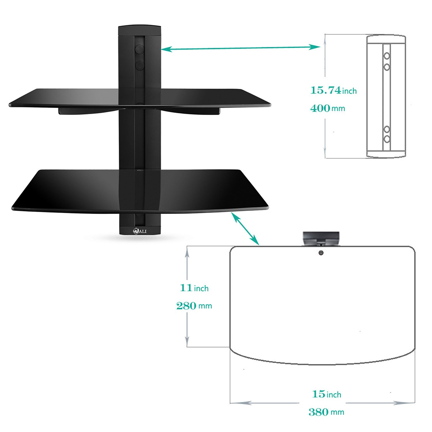 wali floating wall mounted shelf with strengthened tempered glasses installation instructions glass for dvd players cable boxes games consoles ikea lack screws white wrought iron