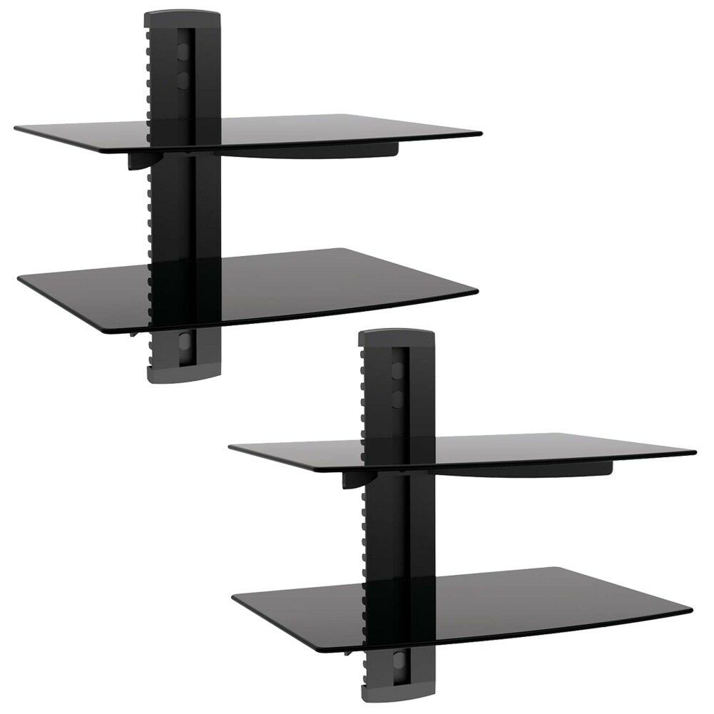 wall mount shelf floating black glass shelves bracket dvd for details about dvr xbox diy suspended mounted corner speaker mounts bunnings inch wide hidden compartment ideas baby